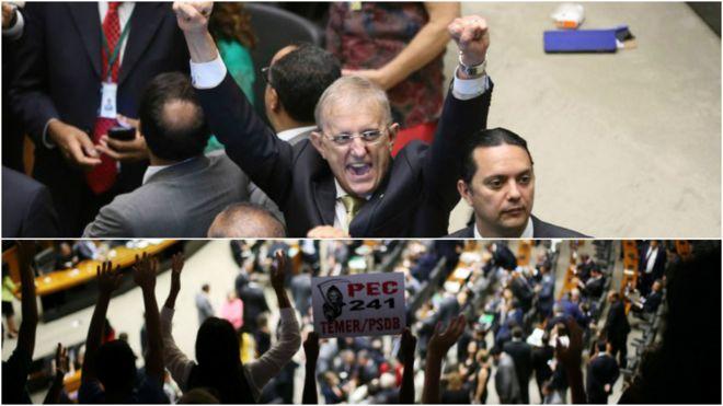 Deputados festejam e protesto na galeria contra a PEC 241