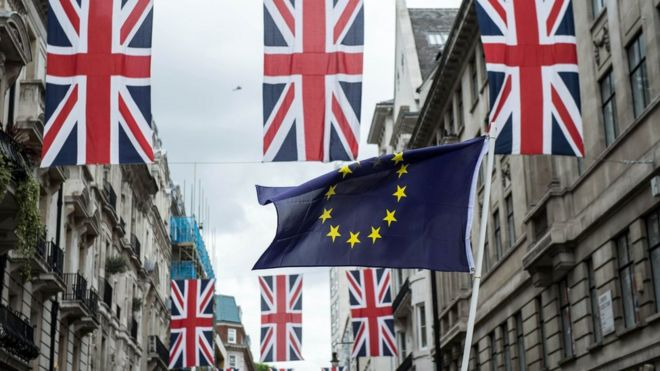 EU flag waved under Union flags in London