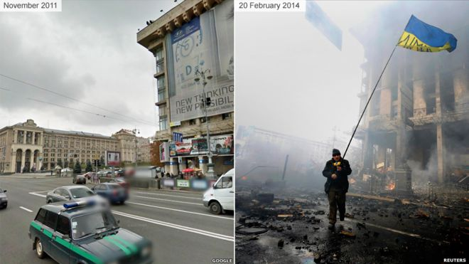 A street before and after violent protests in Kiev