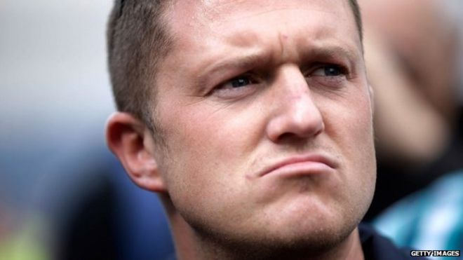 Image caption Stephen Yaxley-Lennon, also known as Tommy Robinson, was fined at Hammersmith Magistrates' Court - _78403052_78402058