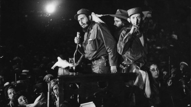 Cuban revolutionary leader Fidel Castro spekas to supporters Jan. 8, 1959 at the Batista military base Columbia, now known as Ciudad Libertad