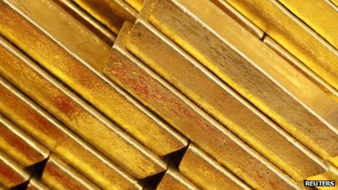 File photo of gold bars at the Czech National Bank in Prague 16 April, 2013