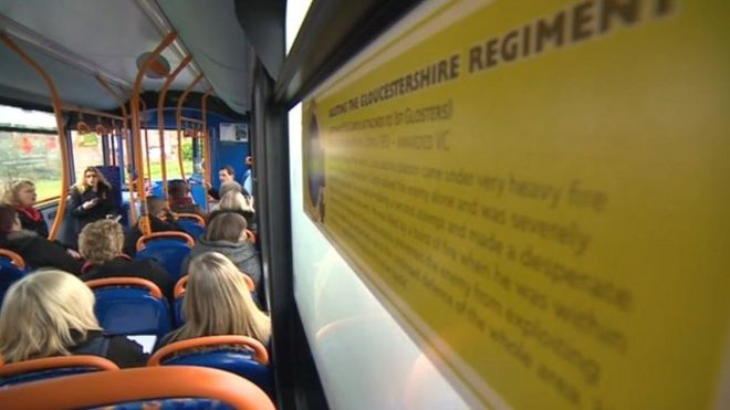 A Stagecoach bus profiling the story of one Gloucestershire soldier
