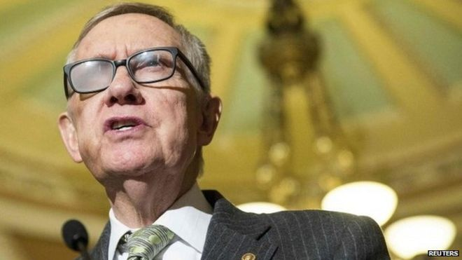 Senate Minority Leader Harry Reid (D-NV) speaks during a press conference on Capitol Hill in Washington 17 March 2015
