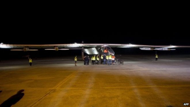 Solar Impulse at Mandalay international airport 30 March 2015