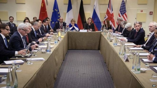 Representatives of world powers meet to pin down a nuclear deal with Iran on 30 March 2015 in Lausanne, Switzerland