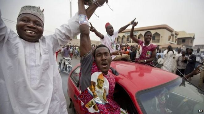 Nigerians celebrate in Kano, 31 March