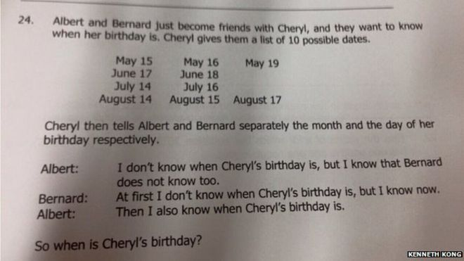 Cheryl's birthday - really hard Singapore maths logic puzzle