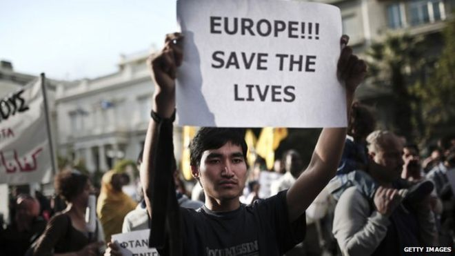 Refugees and immigrants protest in Athens against EU policies for migrants. 22 April 2015