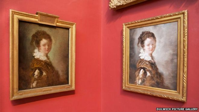 The replica and the original of Jean-Honore Fragonard's Young Woman
