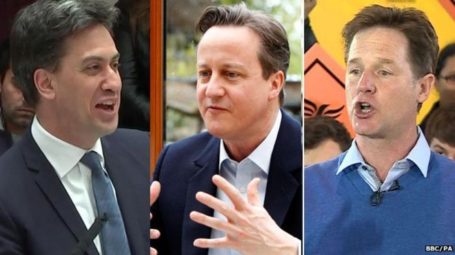 Ed Miliband, David Cameron and Nick Clegg