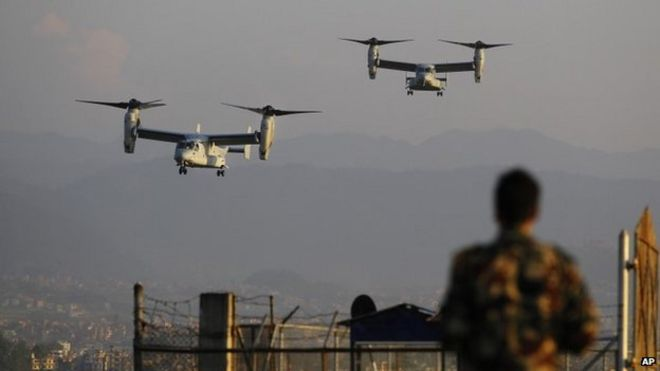 US Air Force Bell Boeing V-22 Osprey aircrafts arrive at the Tribhuvan International airport in Kathmandu, Nepal, Sunday, May 3, 2015.