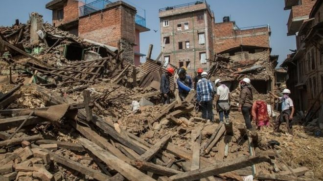 Volunteers have been helping to clear debris caused by the earthquake