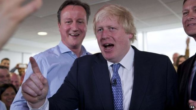 David Cameron and Boris Johnson during a rally in the marginal seat of Hendon in London
