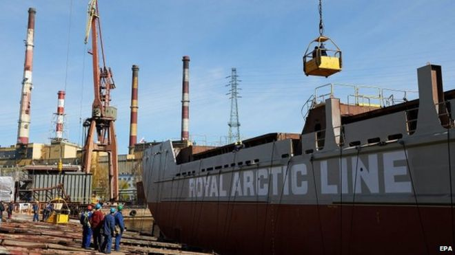 The Jonathan Arctica, one of the world's first Polar class supply ships, at shipyard in Gdansk, Poland, 22 April 2015