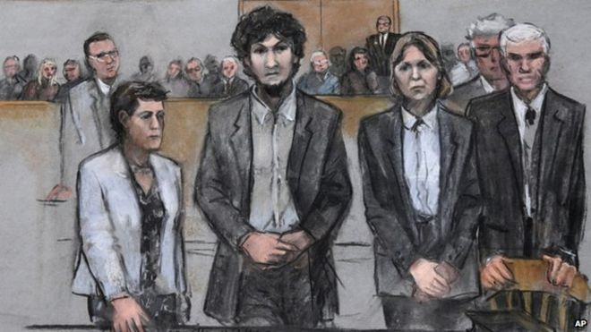 Dzhokhar Tsarnaev, shown in a court sketch with his lawyers as the jury returned its sentence