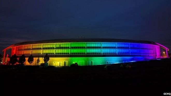 GCHQ lit up in rainbow colours