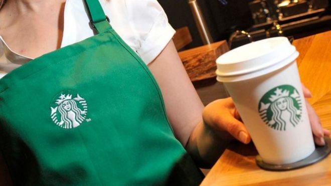 Starbucks coffee cup and apron