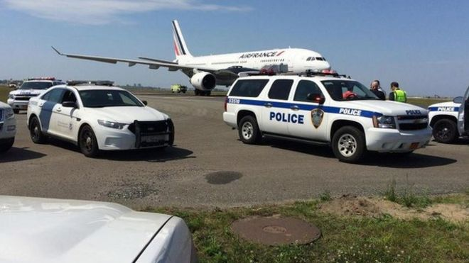 The Air France plane is being searched after landing safety in New York
