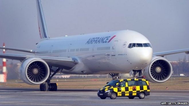 An aircraft Boeing 777 of French airline Air France stands on the airport Tegel, Berlin, on January 31, 2012.