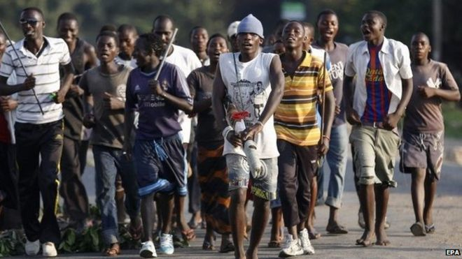 Burundian protesters march on the street during an anti-government demonstration against President Pierre Nkurunziza's bid for a third term in the Cibitoke neighbourhood of the capital Bujumbura, Burundi, 28 May 2015