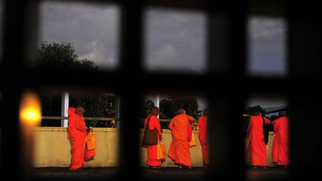 Buddhist monks at the Bodu Bala Sena (BBS) or Buddhist Force convention in Colombo on September 28, 2014.