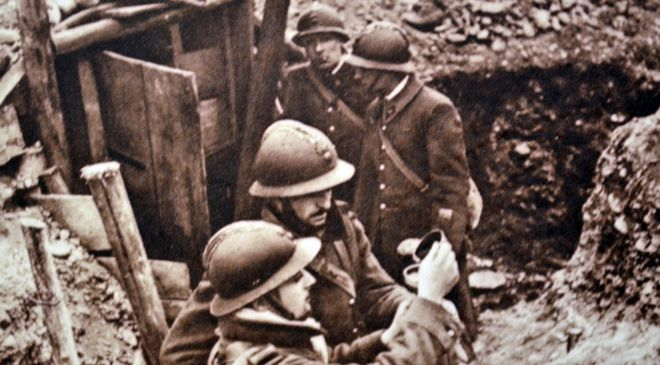 French soldiers in trench defending approach to the Rhine 1940