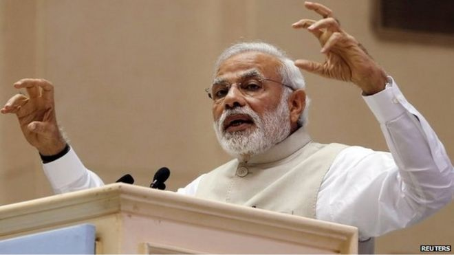 PM Narendra Modi speaks at an event in Delhi in this February 15, 2015 file photo