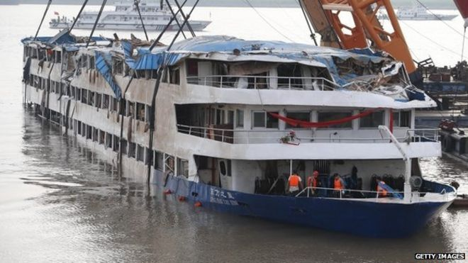 Capsized Eastern Star ship, righted on 5 June 2015 in the Yangtze River, China.