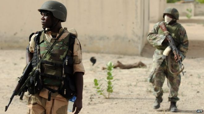 Nigerian troops in Maiduguri