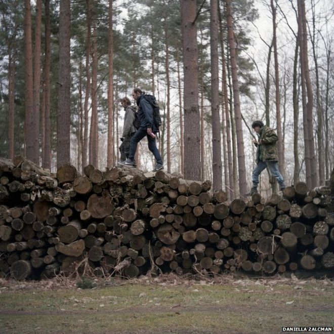 People walking on a pile of logs