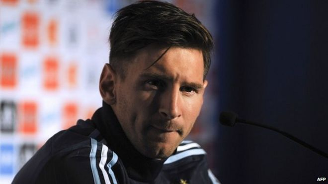 Lionel Messi gestures during a press conference in La Serena, Chile on 9 June 2015