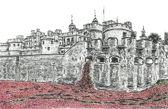 Stephen Wiltshire's drawing of the 2014 exhibition of ceramic poppies at the Tower of London (c) Stephen Wiltshore