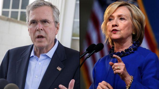Compostie of Jeb Bush and Hillary Clinton