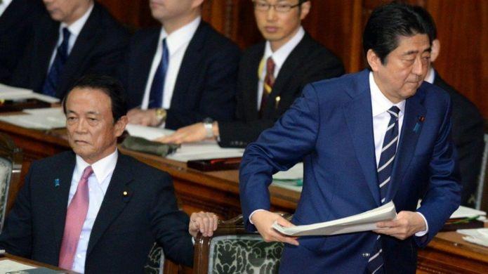 Lãnh đạo Nhật Bản: Taro Aso và Shinzo Abe tại Quốc hội