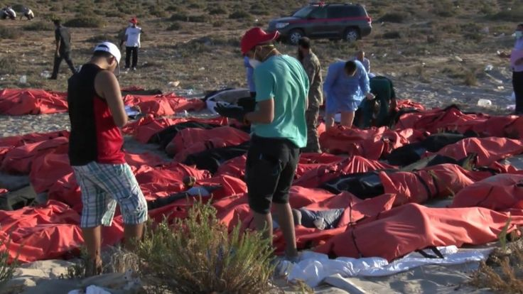 Bodies of dead migrants in Zuwara
