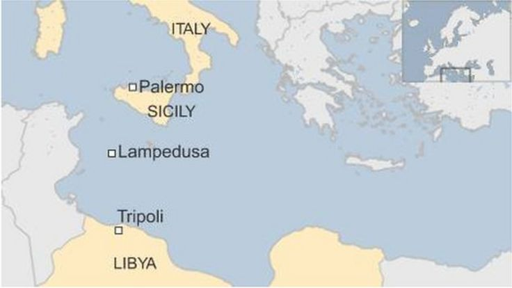 A map of Sicily and Libya