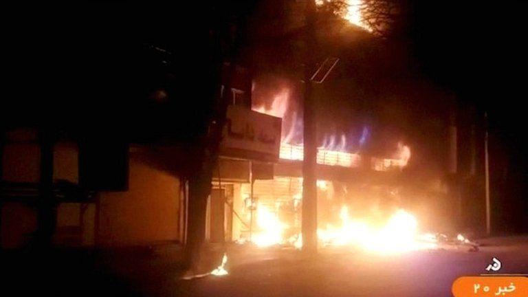 A building on fire is seen in Dorud, Iran in this still image taken from video on 31 December 2017 (IRINN/ReutersTV)