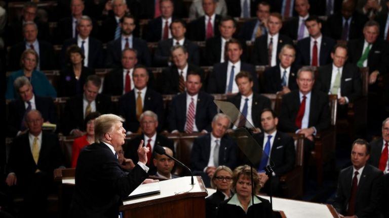 A diferencia de su habitual tono apocalíptico, Trump hizo un discurso pleno de pinceladas de optimismo.