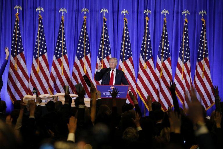La conferencia tuvo lugar en al lobby de la Torre Trump en Nueva York.