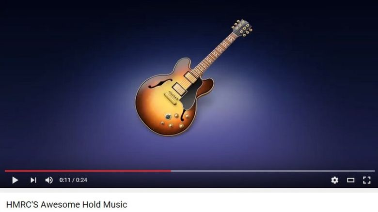 A still of a YouTube video, showing HMRC's hold music