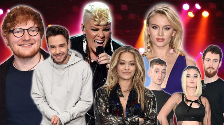 Ed Sheeran, Liam Payne, Pink, Rita Ora, Zara Larsson and Clean Bandit