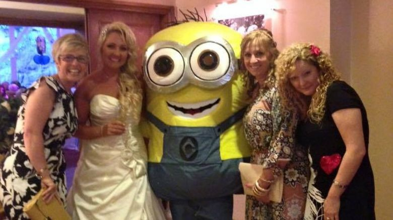 Bridal party with a Minion