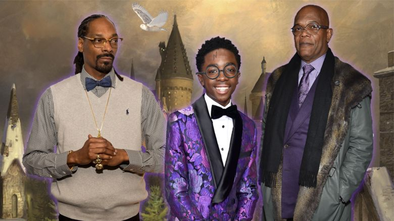Snoop Dogg, Caleb McLaughlin and Samuel L Jackson in front of Hogwarts