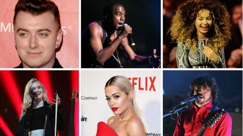 Sam Smith, Kanye West, Ella Eyre, Clean Bandit, Rita Ora and Dave Grohl