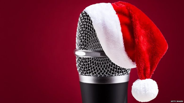 Microphone in a Christmas hat