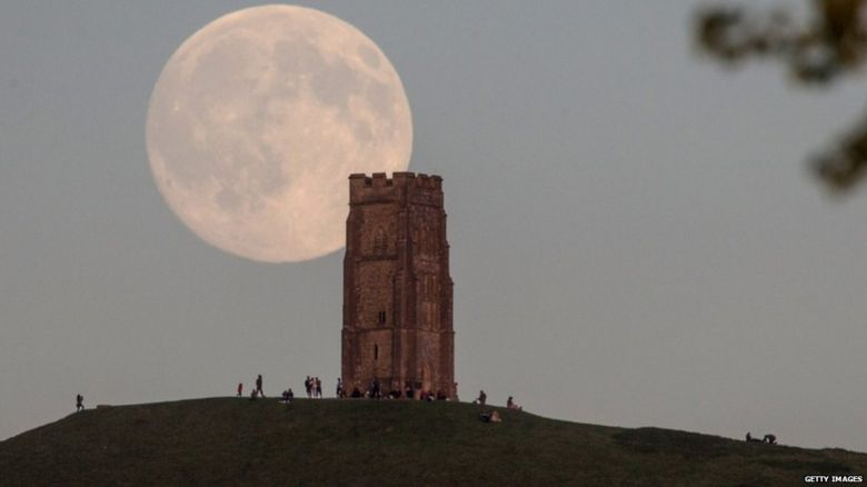 Blue moon over Glastonbury