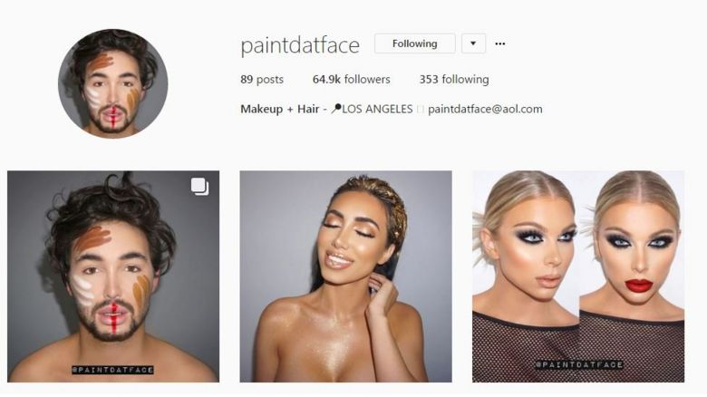 PaintDatFace Instagram page