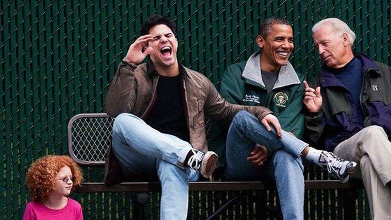 Average Rob photoshopped into a photo of Obama and Biden