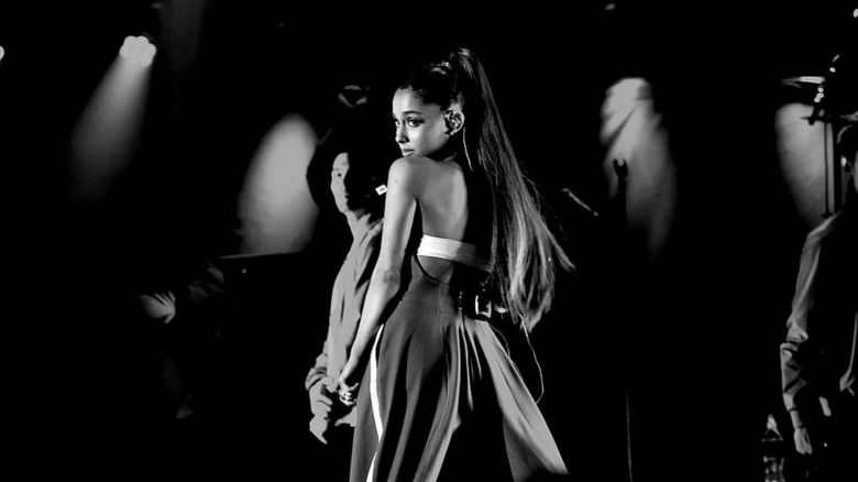 Black and white shot of Ariana performing